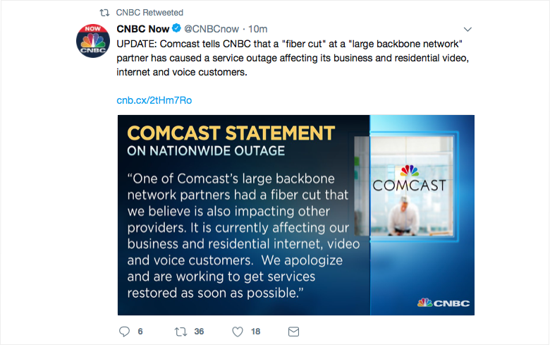 CNBC Tweet with Comcast statement about nationwide outage