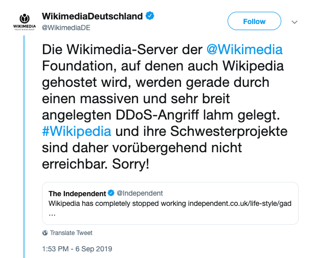 Wikipedia DDoS Attack Germany